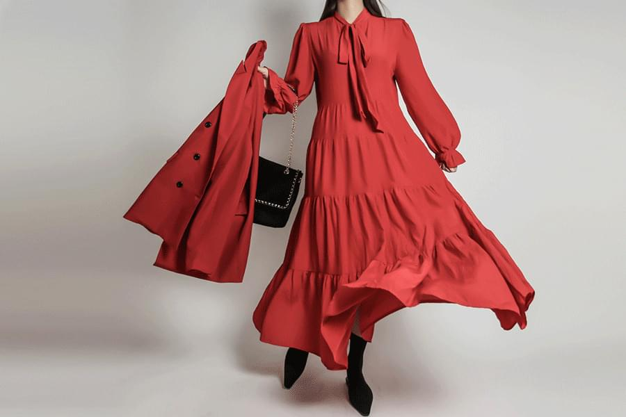 Red Tie Tiered Maxi Dress_OP03374