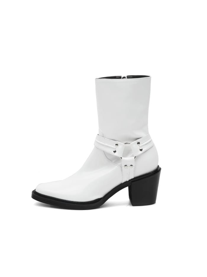 ACIDITY - WESTERN SLIM LEATHER ANKLE BOOTS (WHITE)