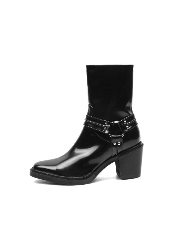 ACIDITY - WESTERN SLIM LEATHER ANKLE BOOTS (BLACK)