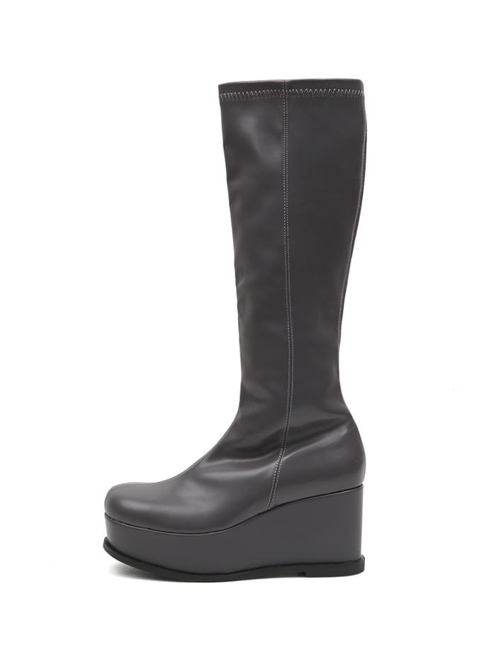 ACIDITY - PLATFORM LEATHER LONG BOOTS