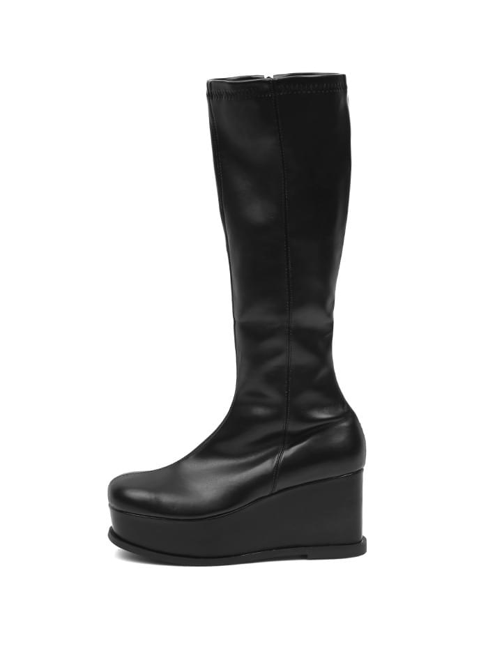 ACIDITY - PLATFORM LEATHER LONG BOOTS (BLACK)