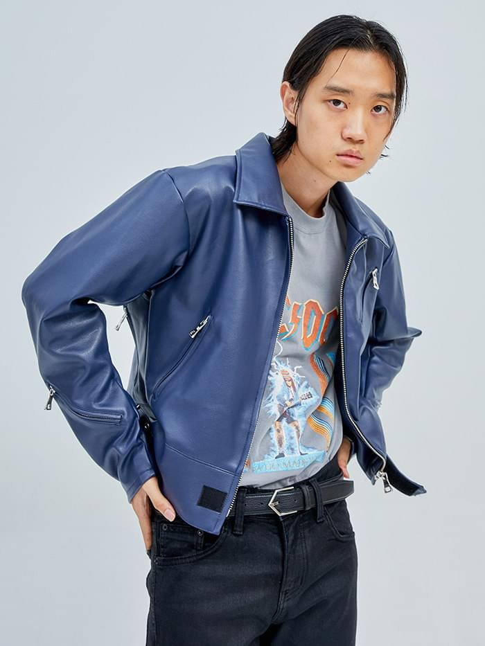 leather collar rider jacket (2 color) - men