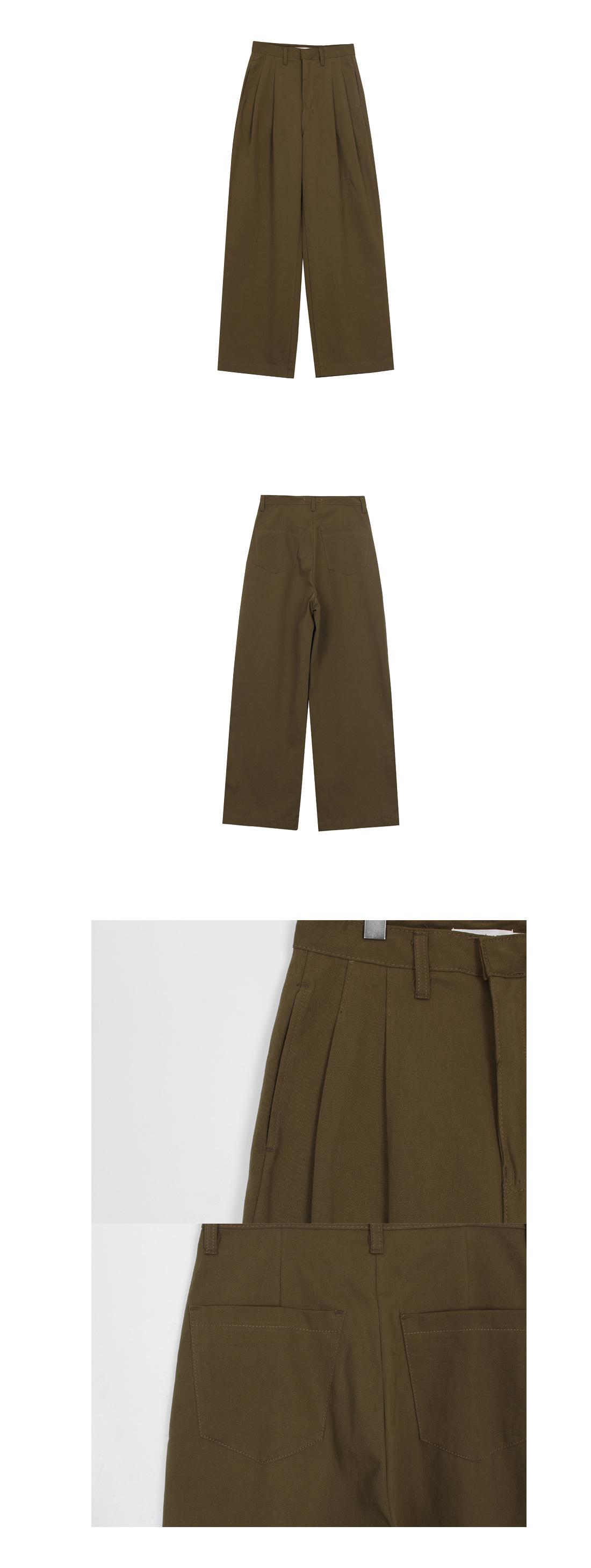 Khaki pintuck cotton pants