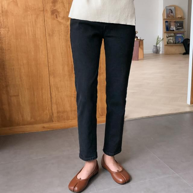 Vintage Slim Straight Fit Black Cotton Pants