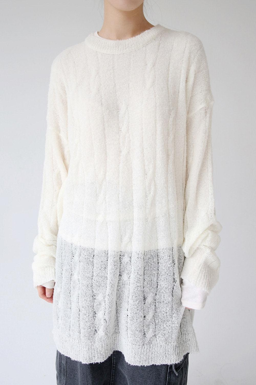 loose long soft knit (cream)