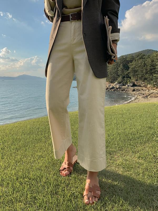 Cream Wide Fit Cropped Pants