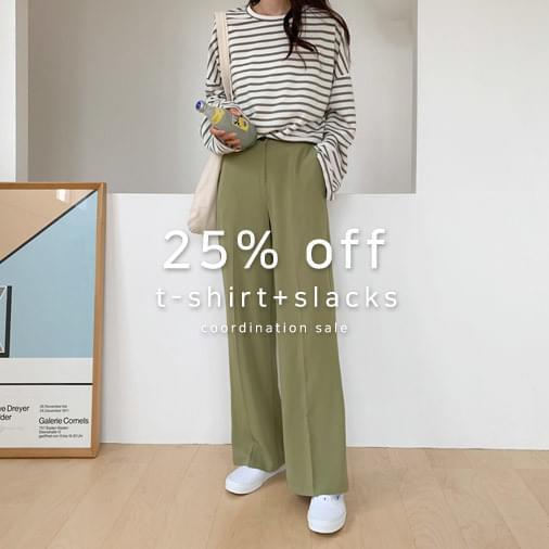 Uni-stripe T-shirt + Refit Basic Wide Slacks Pants