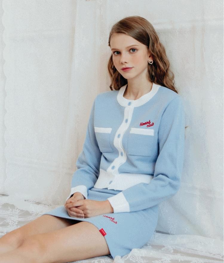 Heart Line Knit CardiganHeart Line Knit SkirtSET