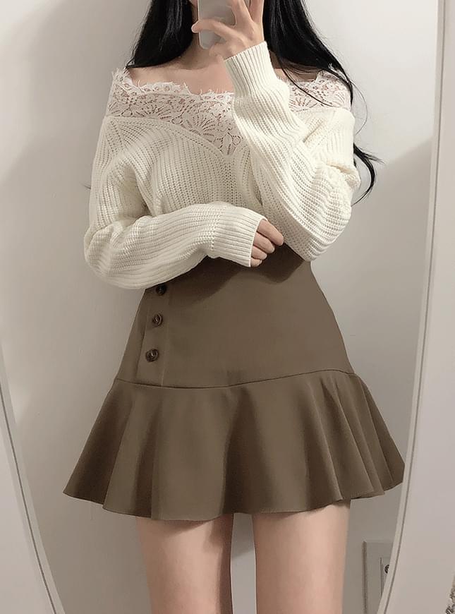 Puri button skirt pants