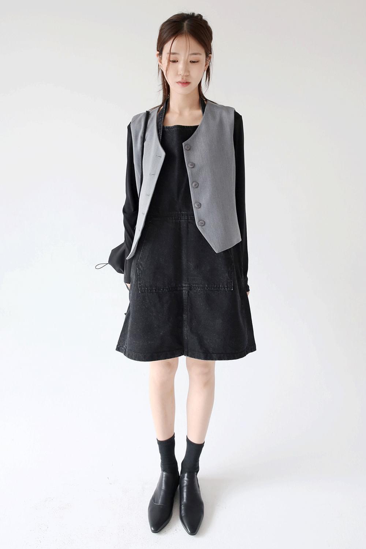 retro clean cotton vest (gray)