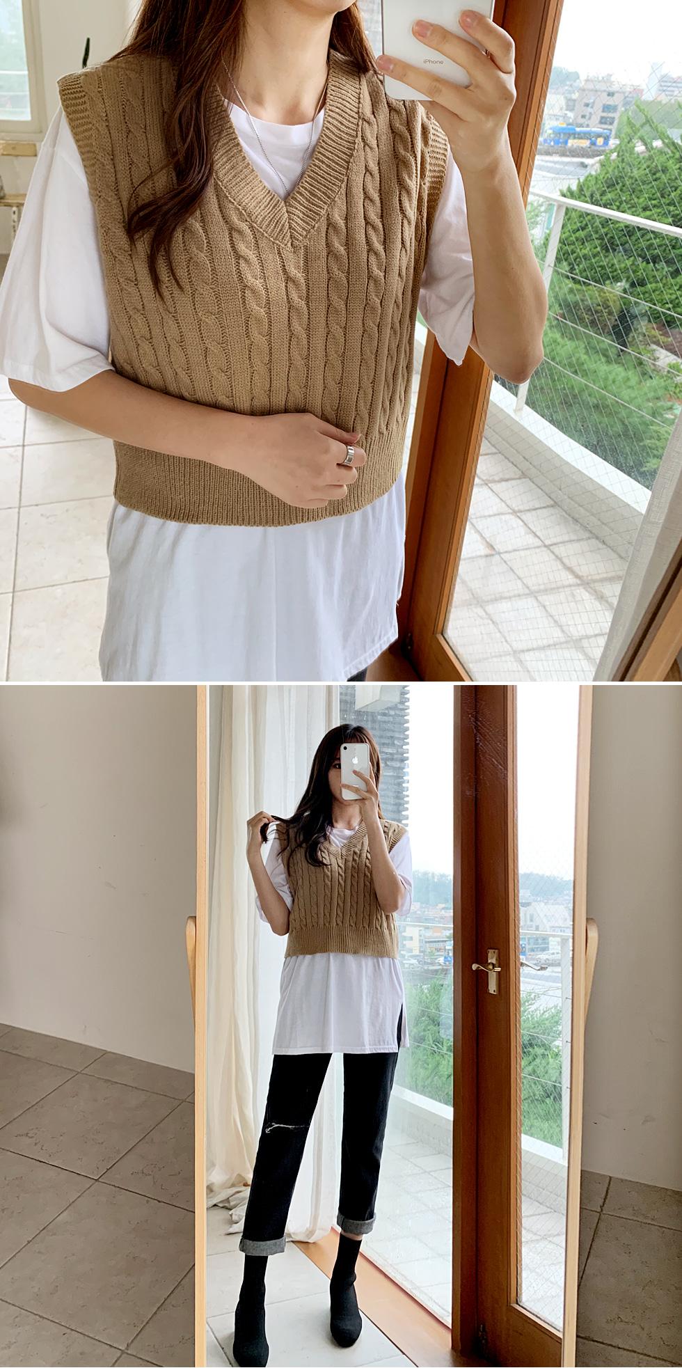 V领麻花纹短款针织马甲