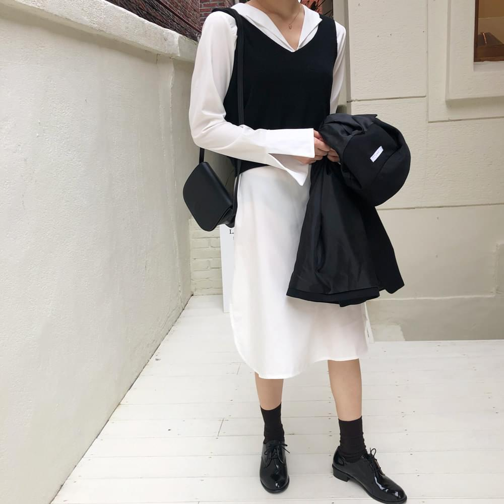 Day long shirt + knit best SET
