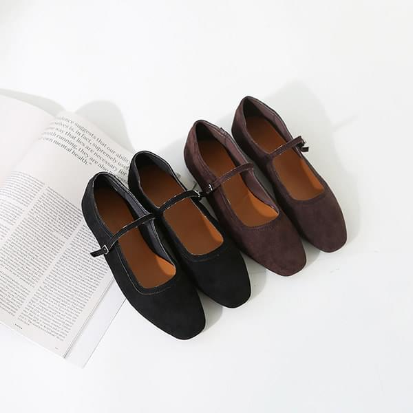 Suede mary jane flat shoes