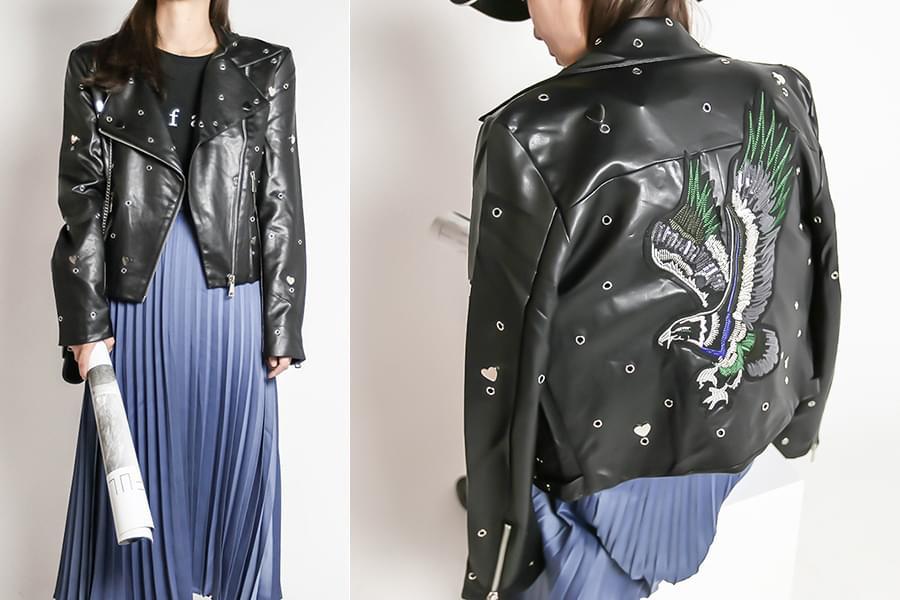 Heart eyelet embroidery leather rider jacket _jk03377