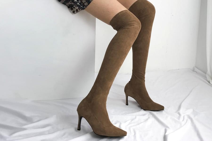Slim fit suede span sy high long boots_ss03363