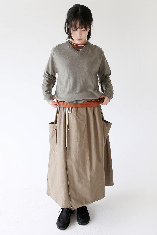 wrap pocket detail skirts (khaki)