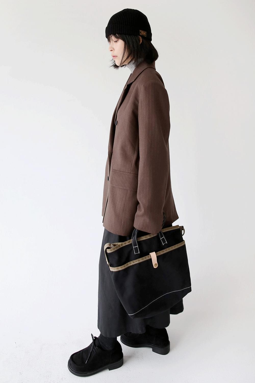 stripe boy duble jacket (brown)