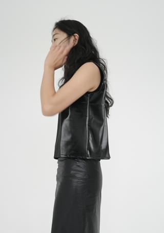 posh luster fake leather vest