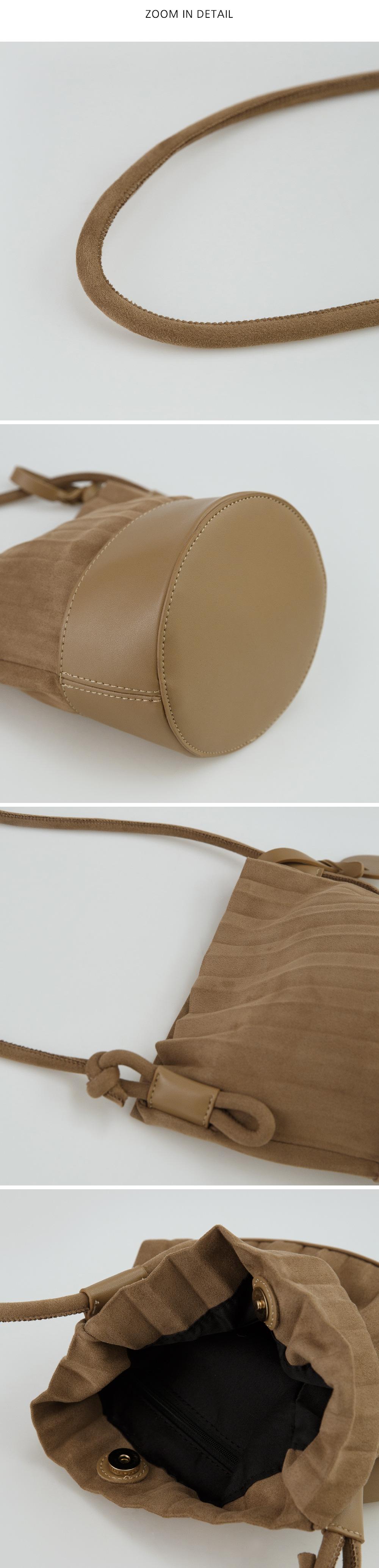 pleats detail suede bag