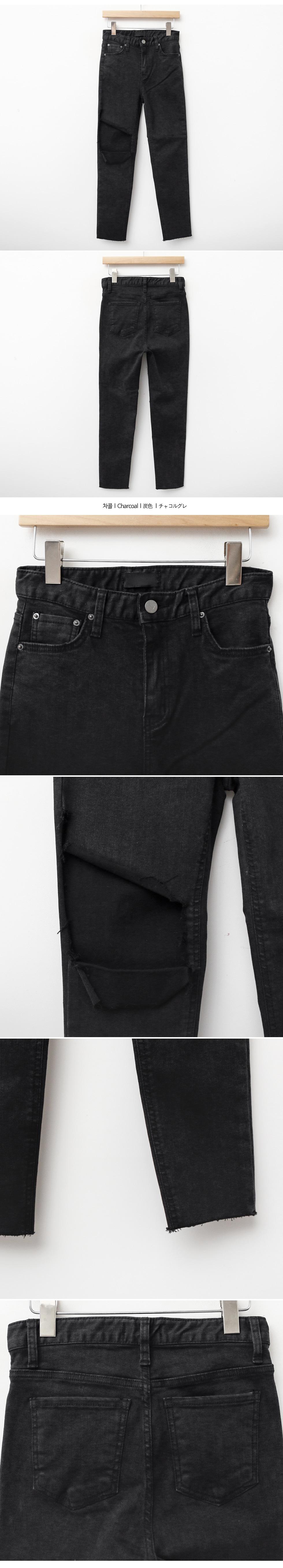 Buff-cutting denim pants