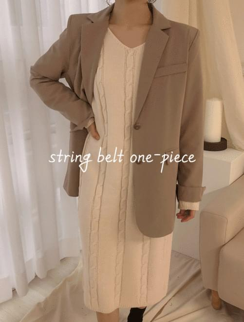 String Belt Knit Dress _H