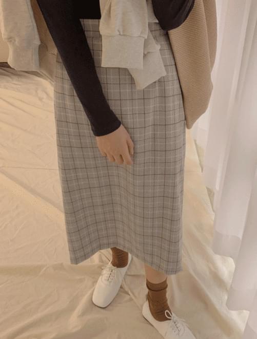 Mild check banding skirt _H