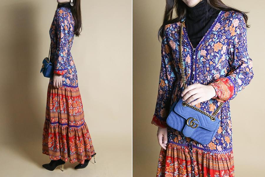 Maple flower cancan maxi dress_op03379