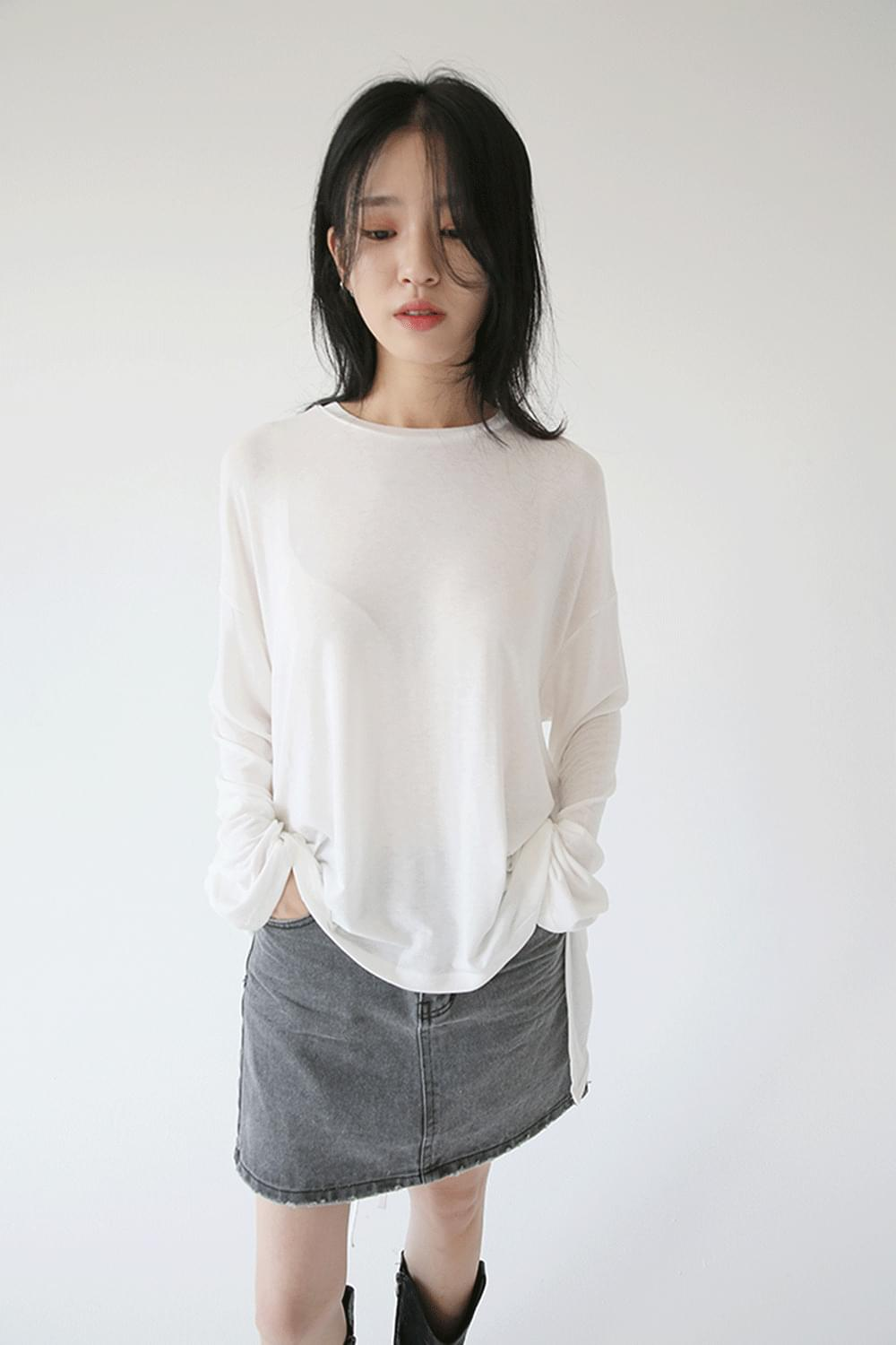 slit detail sheer layer tee (4colors)