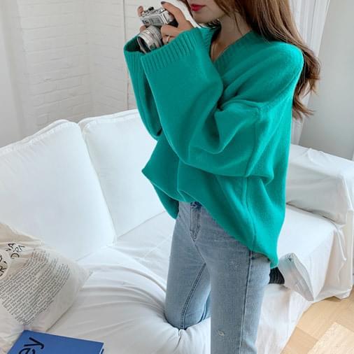 Maxi V-neck overfit knit
