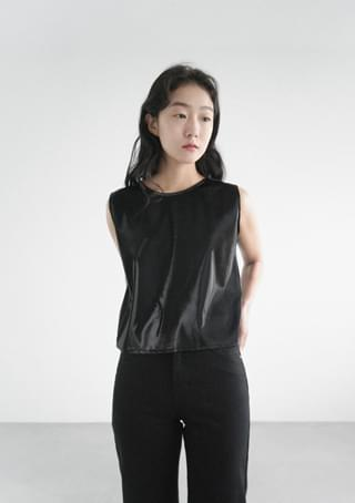 posh luster fake leather vest