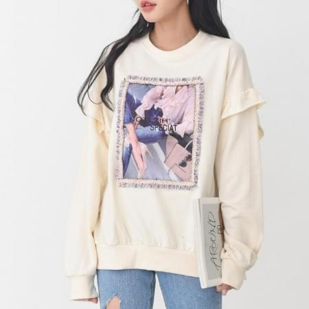 Women's T-shirts frilled man-to-man