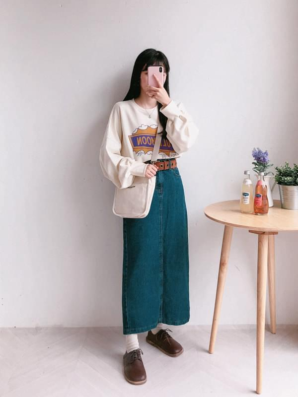 270 denim H line long skirt