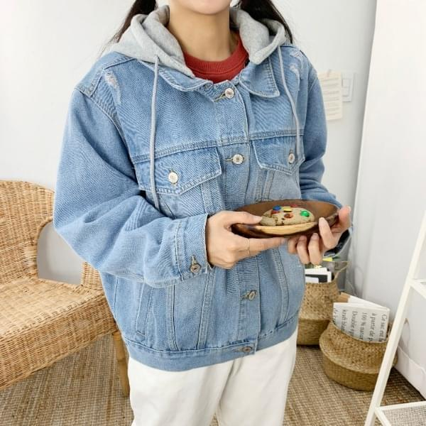 ☆ With hood removal ☆ Locoring hood blue jacket