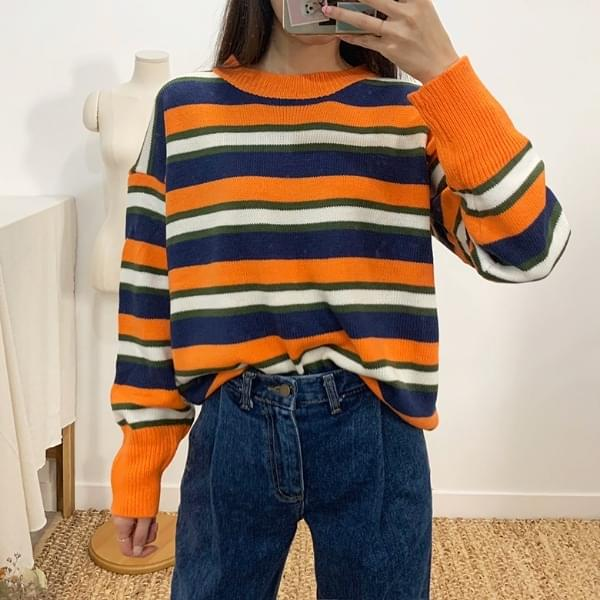 Pretchen striped hatch knit
