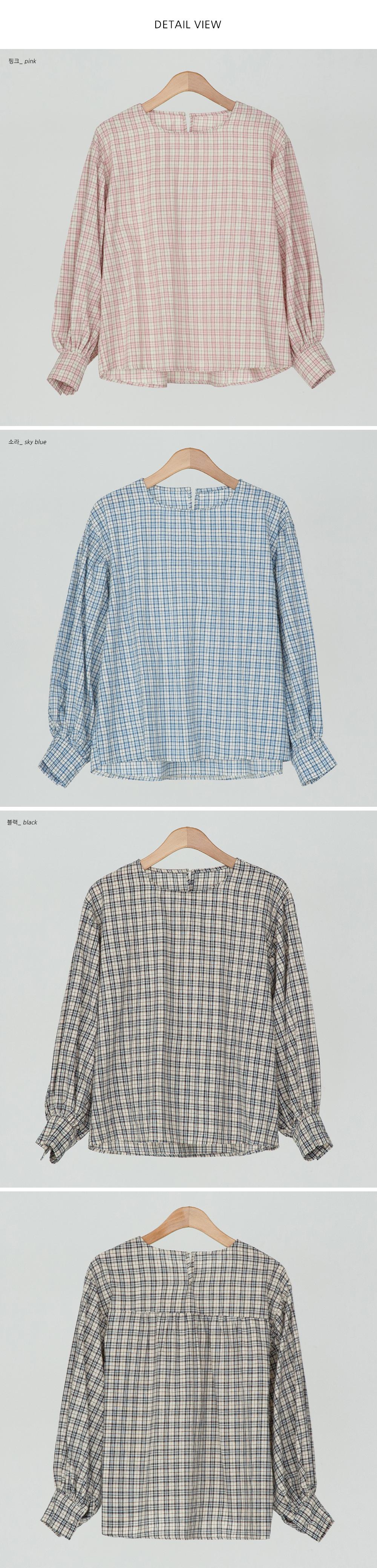 vintage mood check blouse