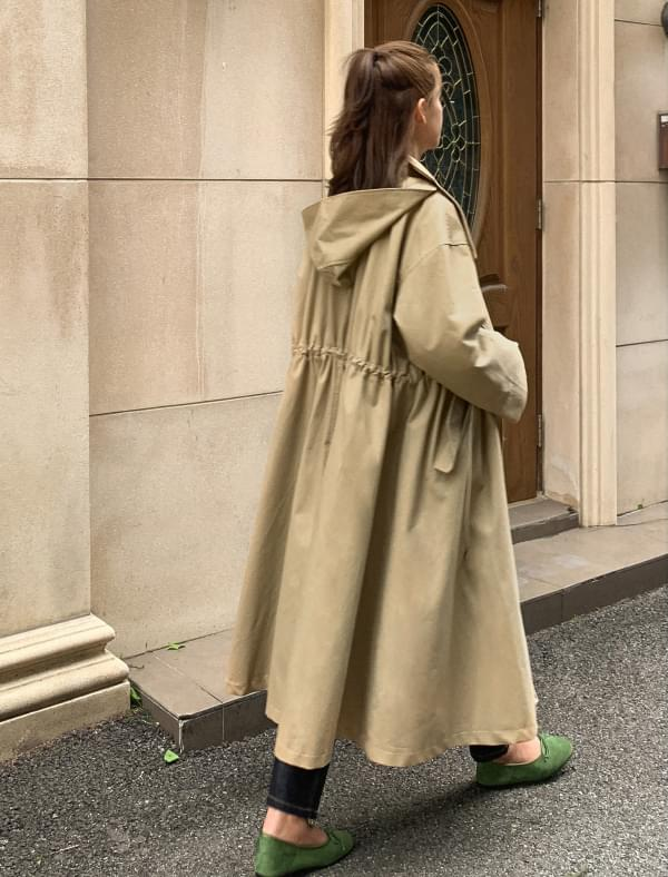a-line hood trench coat