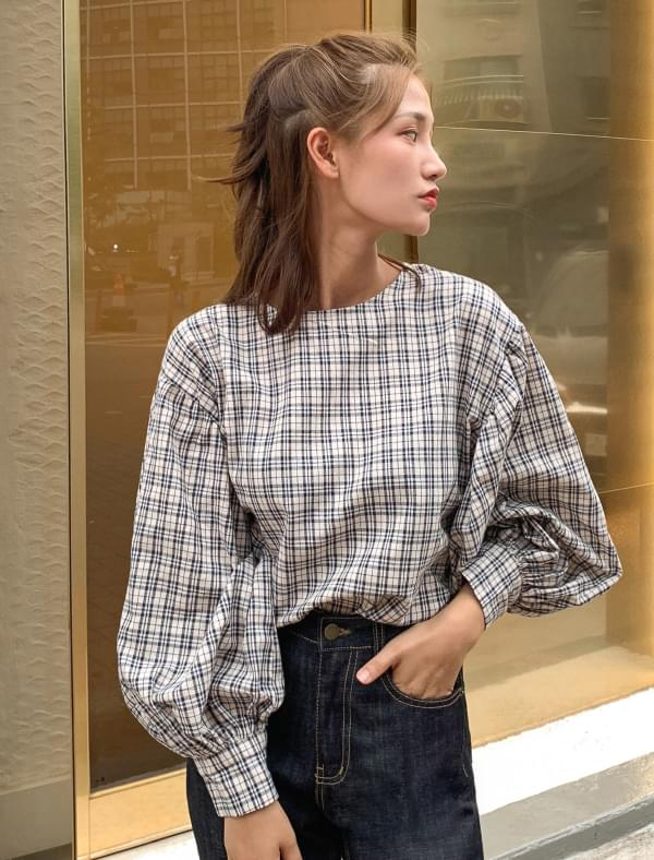 vintage mood check blouse