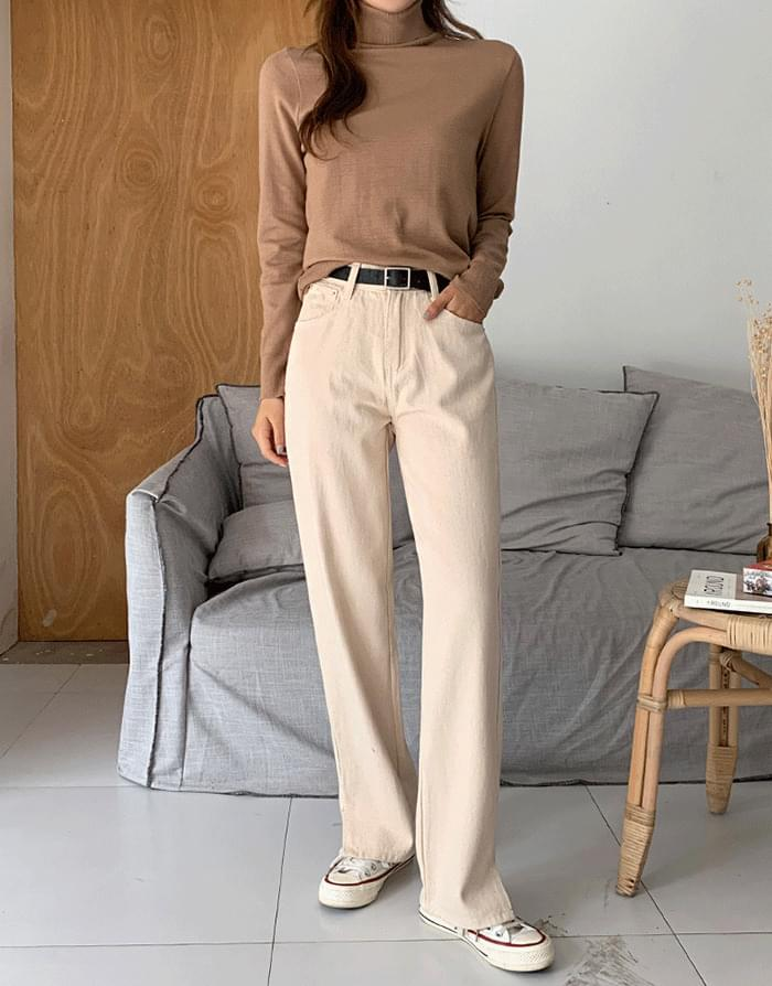 Cream Slit Cotton Pants