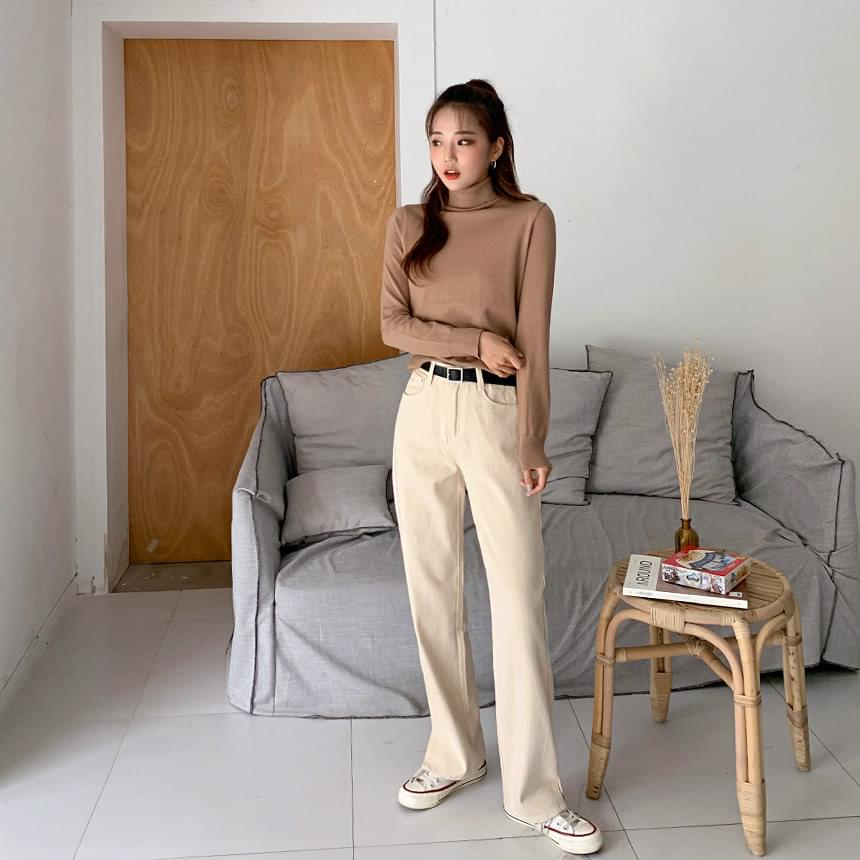 Cream Slit Cotton Pants