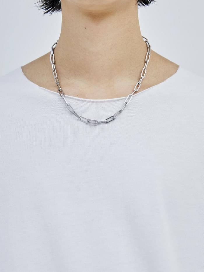 matt silver necklace