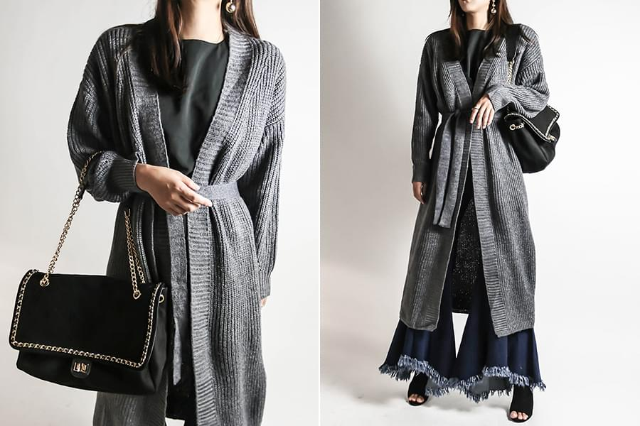 Charcoal knit long cardigan _cd03382
