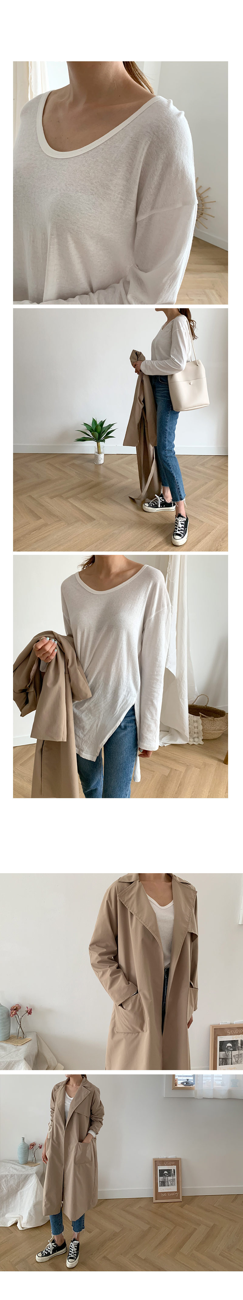 Here Fit U-neck Slit T-shirt