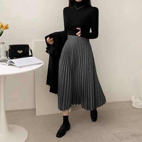 Class Check Pleats Long Skirt