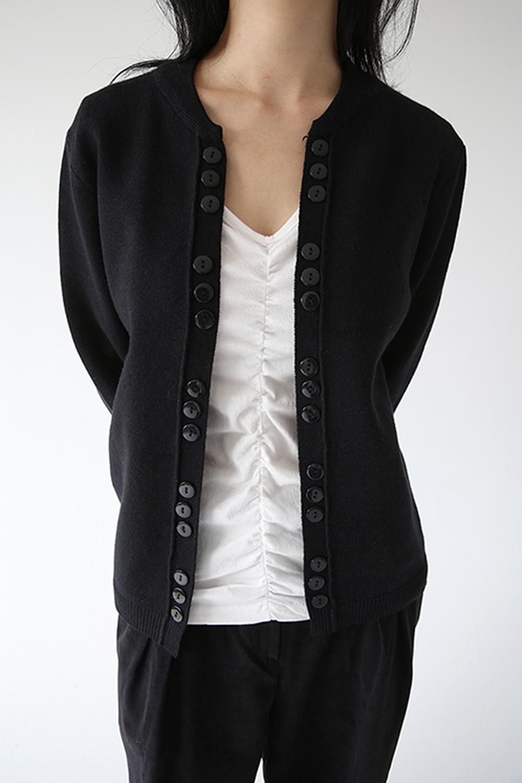 unique button detail cardigan (black)