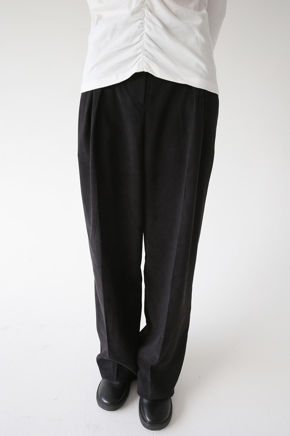 suede wide clean pants (3colors)