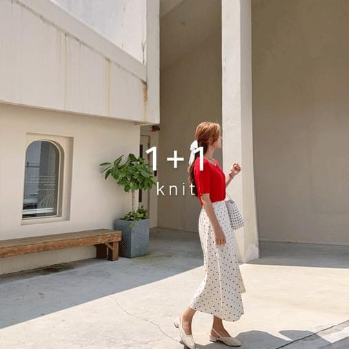 Simple kid square neck knit 1 + 1