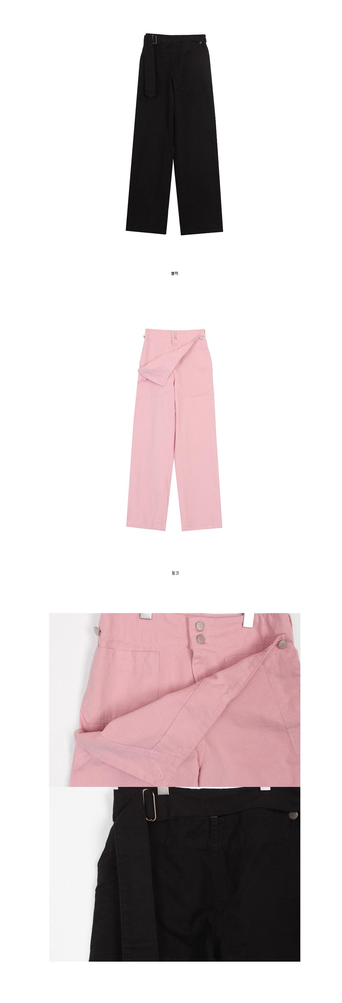 Belt wide cotton pants