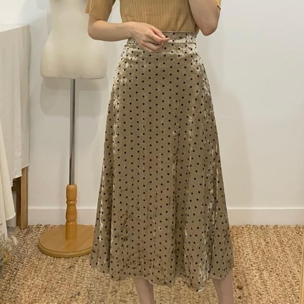 Verden Velvet Dot Flared Long Skirt
