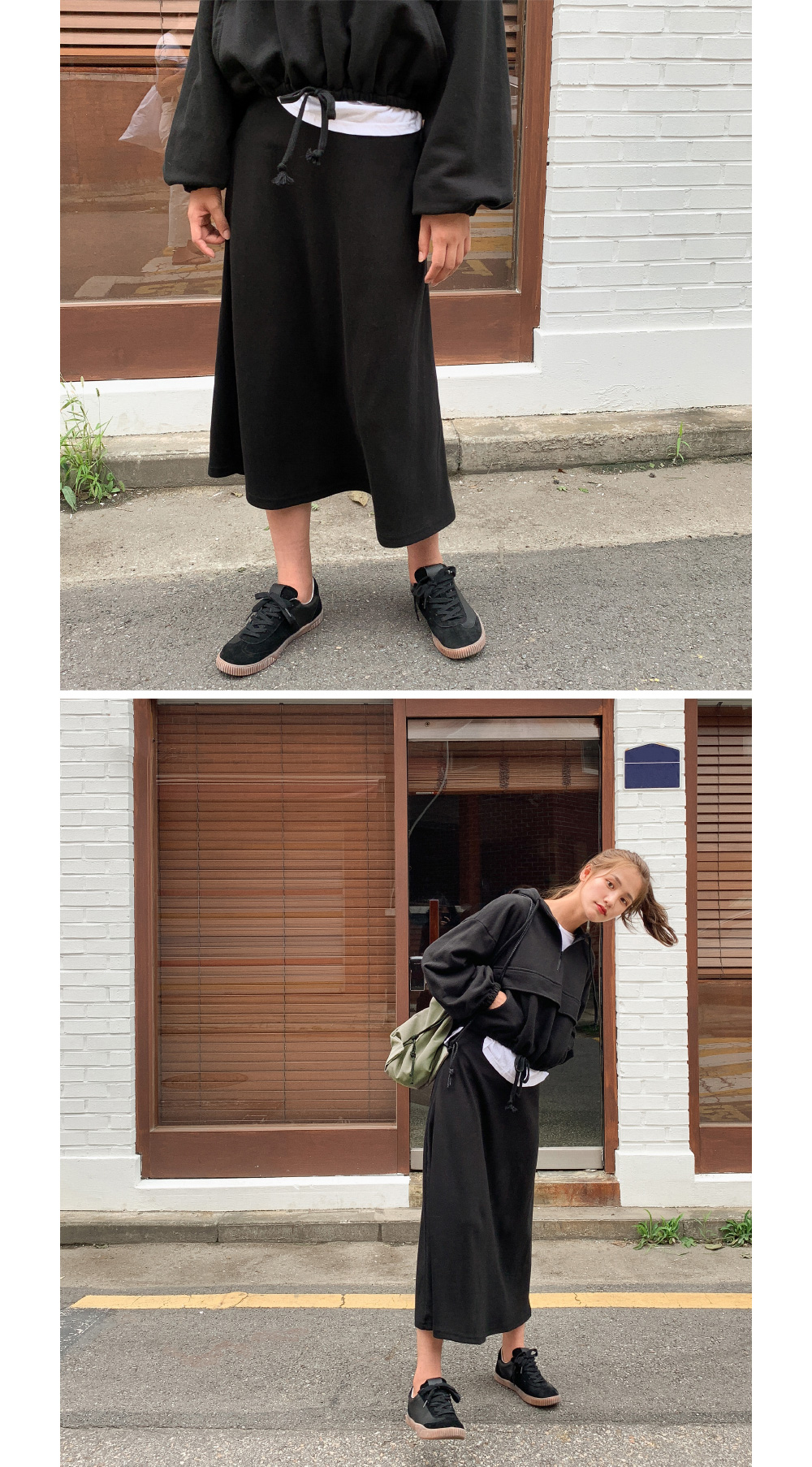 Cozy A-line banding skirt Daily A-line banding long skirt
