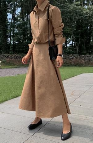 Modern Shirt Flare Long Dress